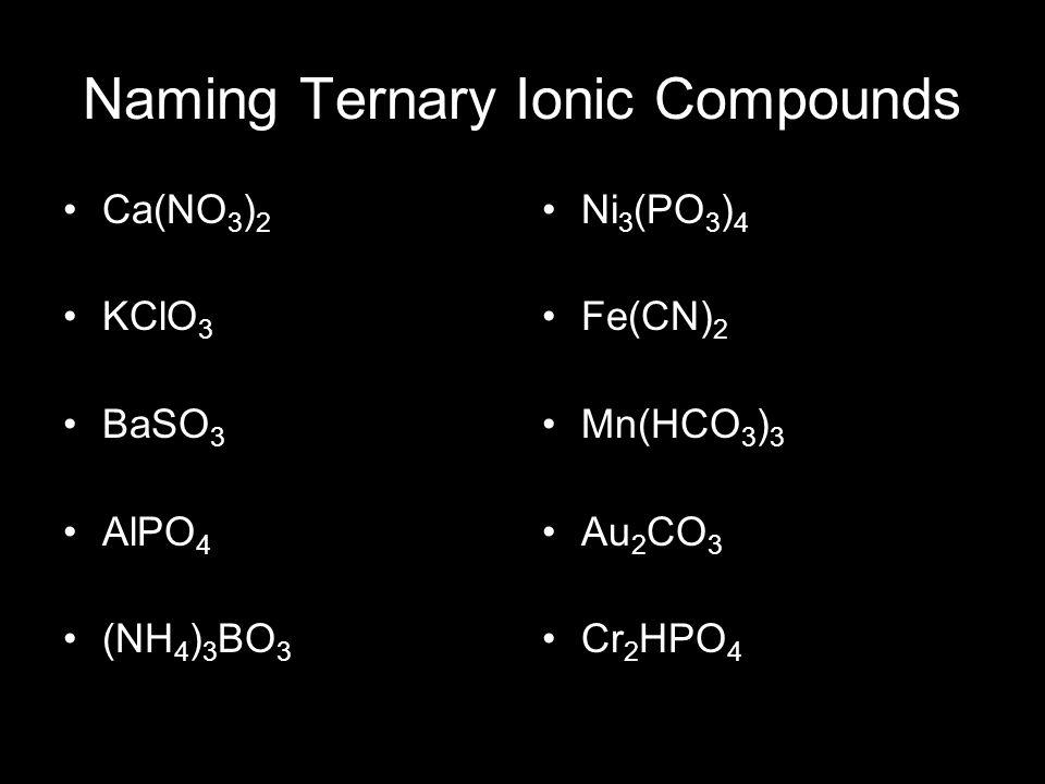 Naming Ternary Ionic Compounds Ca(NO 3 ) 2 KClO 3 BaSO 3 AlPO 4 (NH 4 ) 3 BO 3 Ni 3 (PO 3 ) 4 Fe(CN) 2 Mn(HCO 3 ) 3 Au 2 CO 3 Cr 2 HPO 4