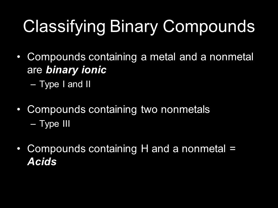 Classifying Binary Compounds Compounds containing a metal and a nonmetal are binary ionic –Type I and II Compounds containing two nonmetals –Type III Compounds containing H and a nonmetal = Acids