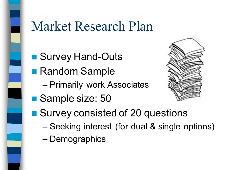 Market Research Plan Survey Hand-Outs Random Sample –Primarily work Associates Sample size: 50 Survey consisted of 20 questions –Seeking interest (for dual & single options) –Demographics