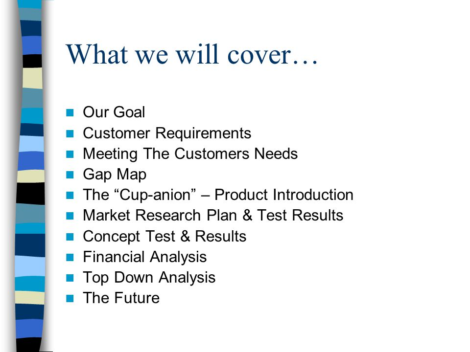 What we will cover… Our Goal Customer Requirements Meeting The Customers Needs Gap Map The Cup-anion – Product Introduction Market Research Plan & Test Results Concept Test & Results Financial Analysis Top Down Analysis The Future