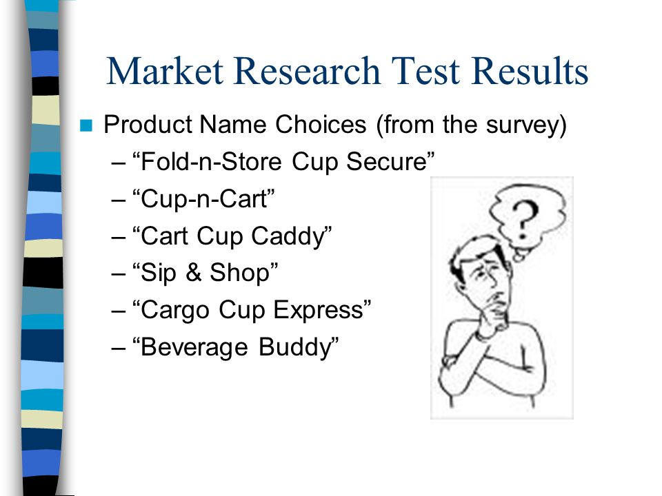 Market Research Test Results Product Name Choices (from the survey) – Fold-n-Store Cup Secure – Cup-n-Cart – Cart Cup Caddy – Sip & Shop – Cargo Cup Express – Beverage Buddy