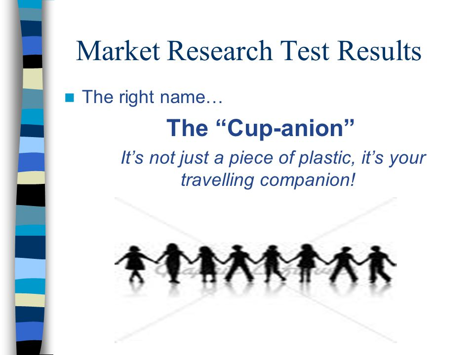 Market Research Test Results The right name… The Cup-anion It's not just a piece of plastic, it's your travelling companion!