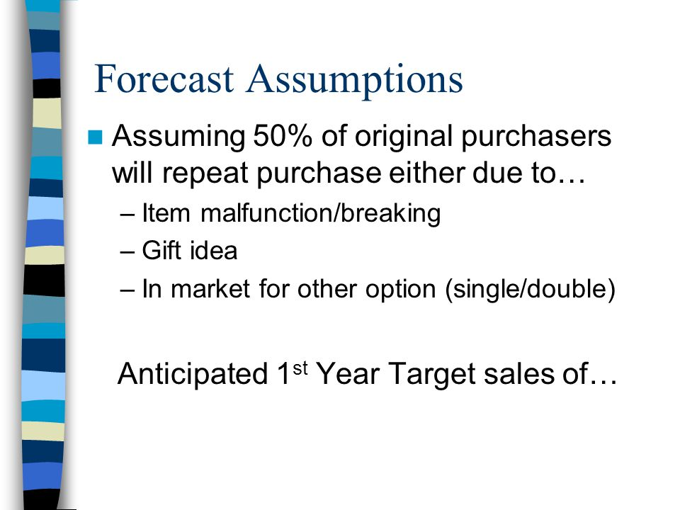 Forecast Assumptions Assuming 50% of original purchasers will repeat purchase either due to… –Item malfunction/breaking –Gift idea –In market for other option (single/double) Anticipated 1 st Year Target sales of…
