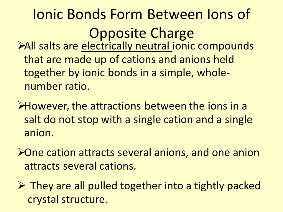 Ionic Bonds Form Between Ions of Opposite Charge  All salts are electrically neutral ionic compounds that are made up of cations and anions held together by ionic bonds in a simple, whole- number ratio.