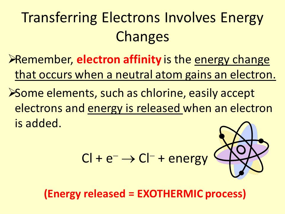 Transferring Electrons Involves Energy Changes  Remember, electron affinity is the energy change that occurs when a neutral atom gains an electron.