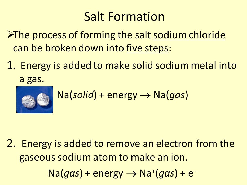 Salt Formation  The process of forming the salt sodium chloride can be broken down into five steps: 1.