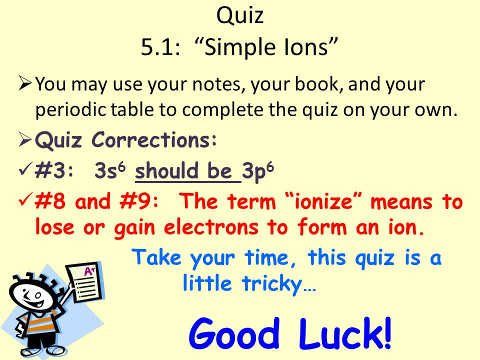 Quiz 5.1: Simple Ions  You may use your notes, your book, and your periodic table to complete the quiz on your own.