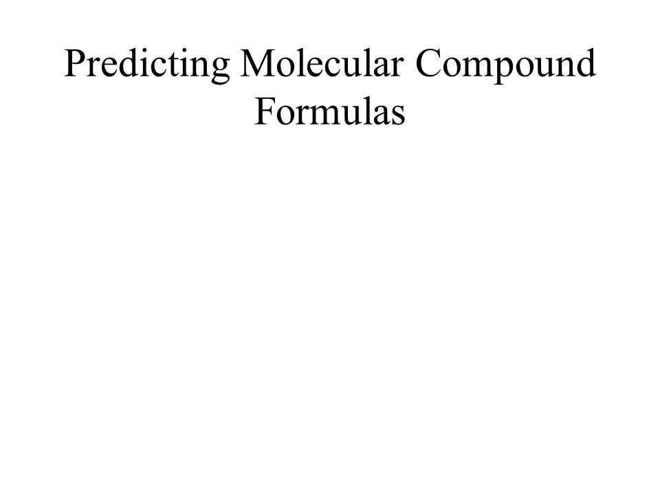 Predicting Molecular Compound Formulas