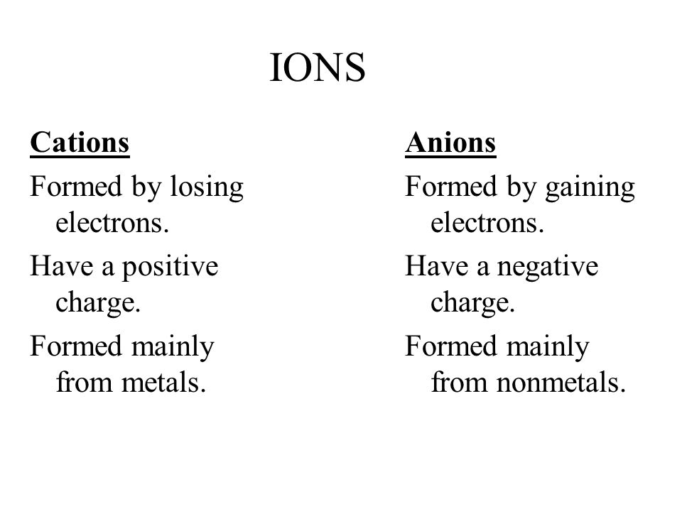 IONS Cations Formed by losing electrons. Have a positive charge.