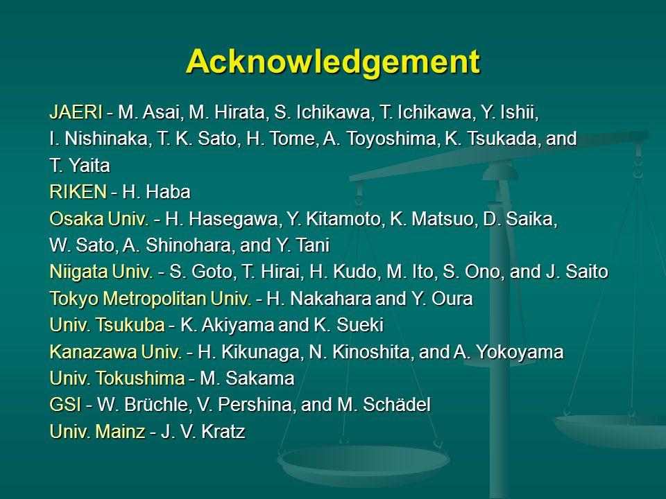 Acknowledgement JAERI - M. Asai, M. Hirata, S. Ichikawa, T.