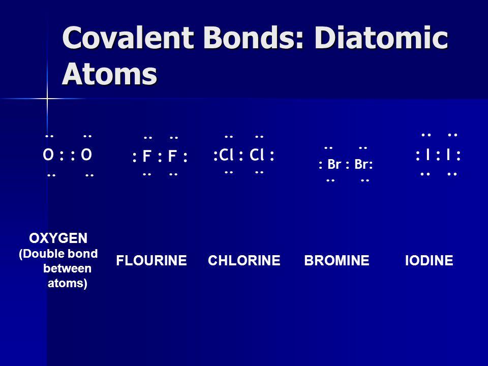 Covalent Bonds: Diatomic Atoms ·· ·· O : : O ·· ·· ·· ·· : F : F : ·· ·· ·· :Cl : Cl : ·· ·· ·· : Br : Br: ·· ·· ·· ·· : I : I : ·· ·· OXYGEN (Double bond between atoms) FLOURINECHLORINEBROMINEIODINE