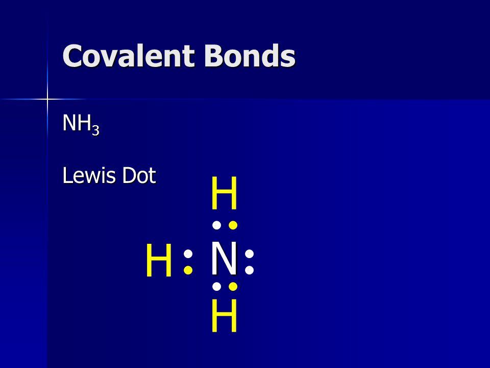 Covalent Bonds NH 3 Lewis Dot N H H H
