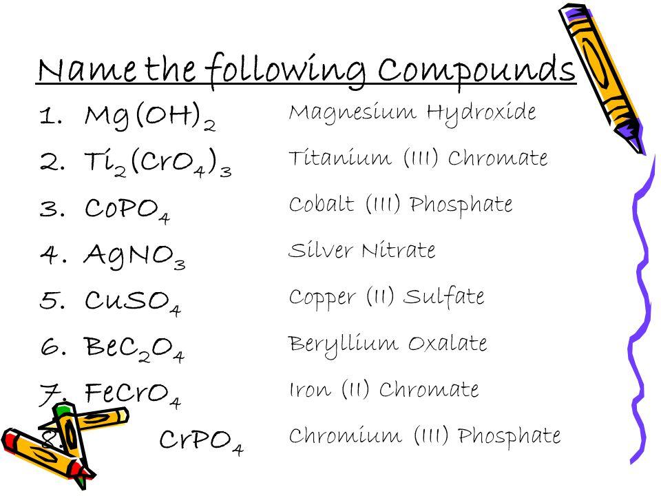Write the Formula for the following 1.Calcium Nitrate 2.Iron (III) Sulfate 3.Copper (II) Sulfite 4.Potassium Permanganate 5.Chromium (III) Nitrate 6.Sodium Perchlorate 7.Calcium Acetate 8.