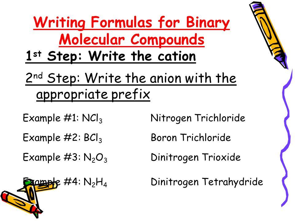 Naming Molecular Compounds PREFIXNUMBER Mono-1 Di-2 Tri-3 Tetra-4 Penta-5 Hexa-6 Hepta-7 Octa-8 Nona-9 Deca-10
