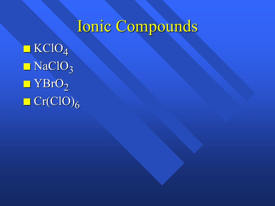 Ionic Compounds n Fe 2 (C 2 O 4 ) n MgO n MnO n KMnO 4 n NH 4 NO 3 n Hg 2 Cl 2 n Cr 2 O 3