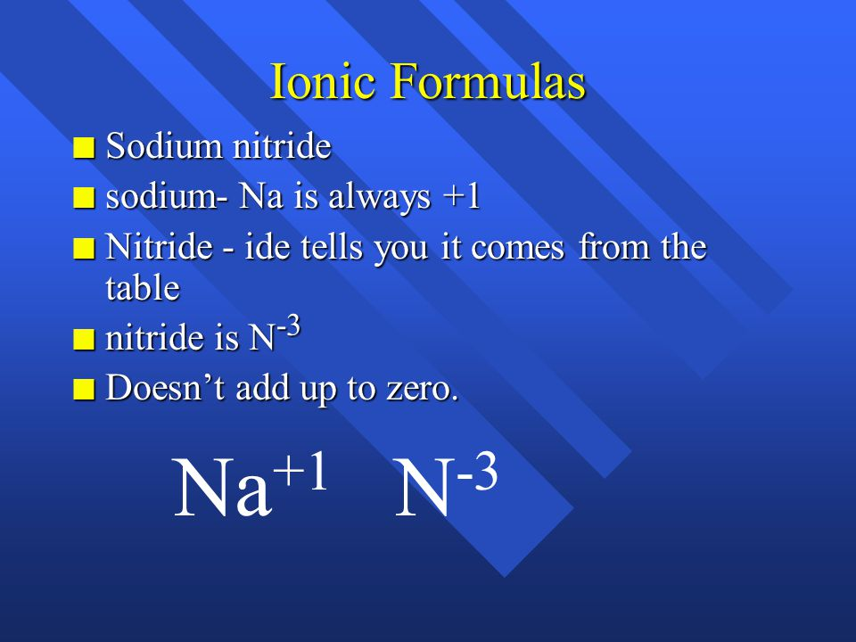 Ionic Formulas n Sodium nitride n sodium- Na is always +1 n nitride - ide tells you it comes from the table n nitride is N -3
