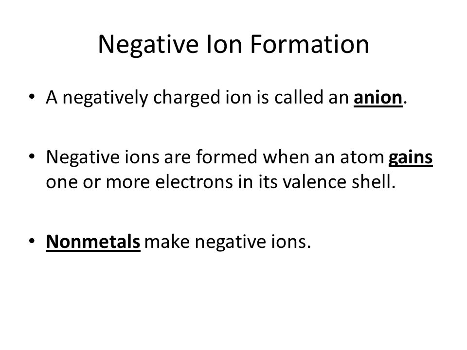 Writing Formulas for Binary Ionic Compounds Look up the charges for each element For a compound to form, the total charge must balance out to zero (positive charges must equal negative charges) Example: – Sodium bromide Na is +1, Br is -1 Only need one of each to balance Formula is NaBr