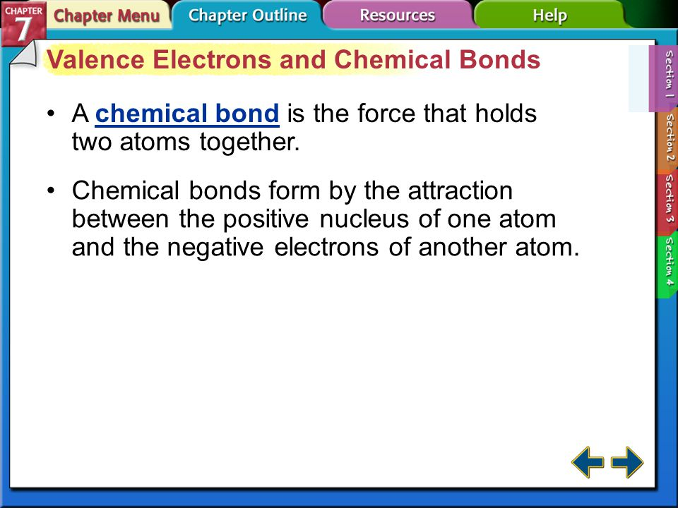 Section 7-1 Section 7.1 Ion Formation Define a chemical bond. octet rule: atoms tend to gain, lose, or share electrons in order to acquire eight valen