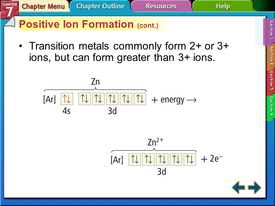 Section 7-1 Positive Ion Formation (cont.) Transition metals commonly form 2+ or 3+ ions, but can form greater than 3+ ions.