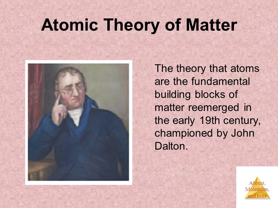 Atoms, Molecules, and Ions Atomic Theory of Matter The theory that atoms are the fundamental building blocks of matter reemerged in the early 19th century, championed by John Dalton.