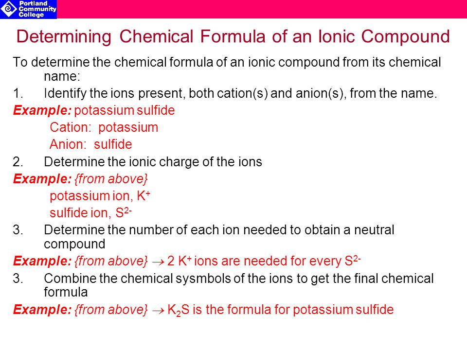 Determining Chemical Formula of an Ionic Compound To determine the chemical formula of an ionic compound from its chemical name: 1.Identify the ions present, both cation(s) and anion(s), from the name.