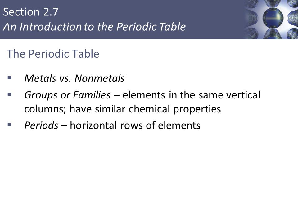 Section 2.7 An Introduction to the Periodic Table The Periodic Table  Metals vs. Nonmetals  Groups or Families – elements in the same vertical colum