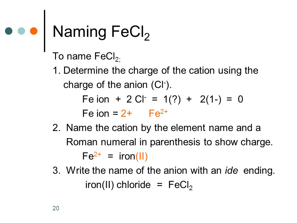 20 Naming FeCl 2 To name FeCl 2; 1.