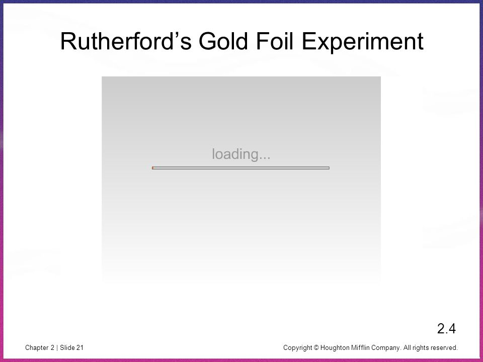 Copyright © Houghton Mifflin Company. All rights reserved. Chapter 2 | Slide 21 Rutherford's Gold Foil Experiment 2.4