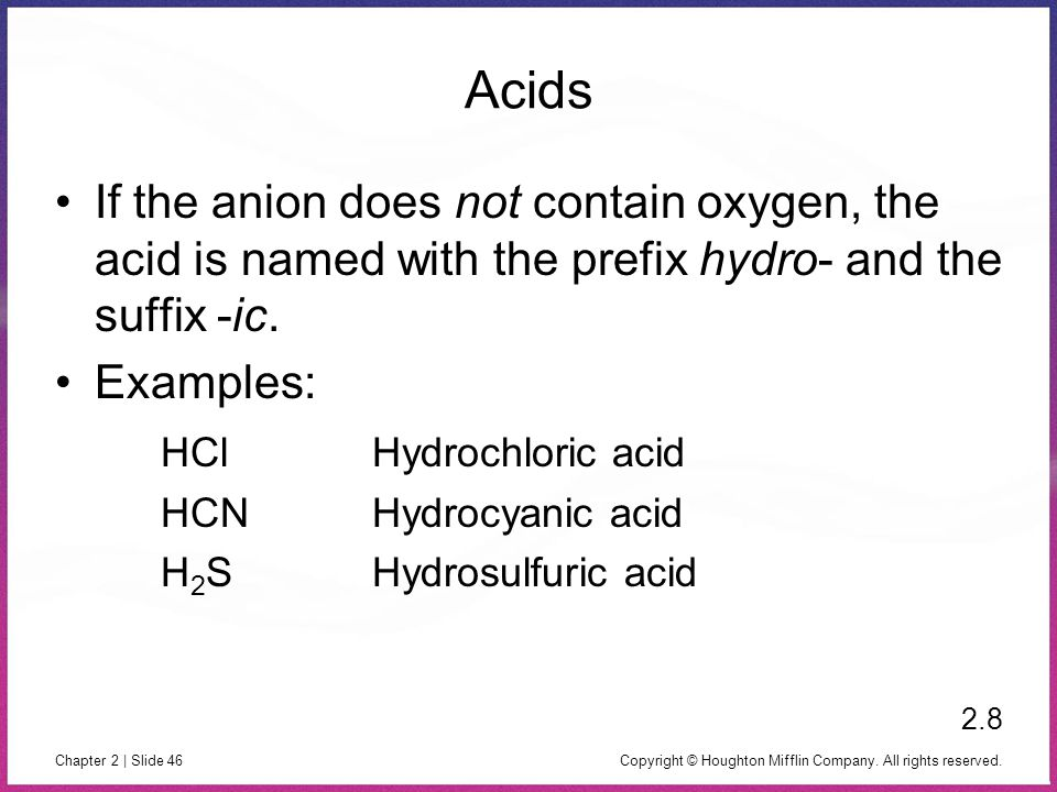 Copyright © Houghton Mifflin Company. All rights reserved. Chapter 2 | Slide 46 Acids If the anion does not contain oxygen, the acid is named with the