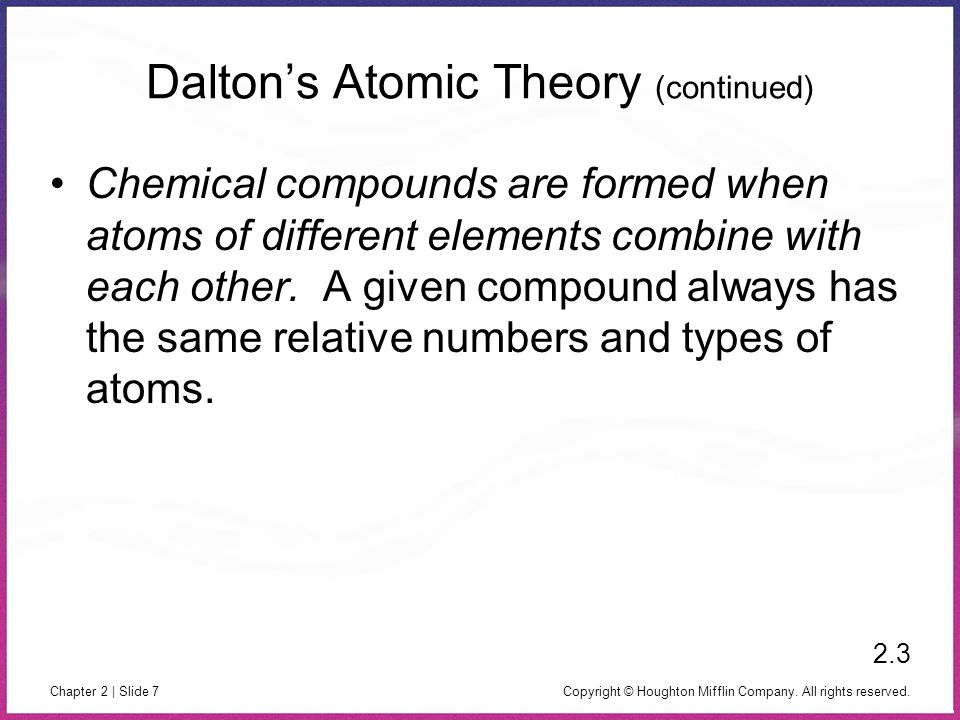 Copyright © Houghton Mifflin Company. All rights reserved. Chapter 2 | Slide 7 Dalton's Atomic Theory (continued) Chemical compounds are formed when a