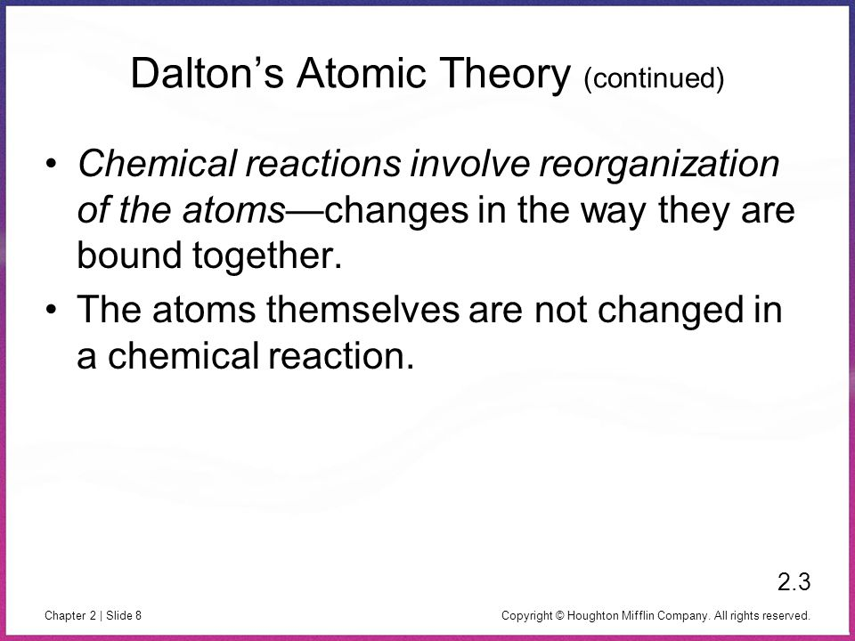 Copyright © Houghton Mifflin Company. All rights reserved. Chapter 2 | Slide 8 Dalton's Atomic Theory (continued) Chemical reactions involve reorganiz