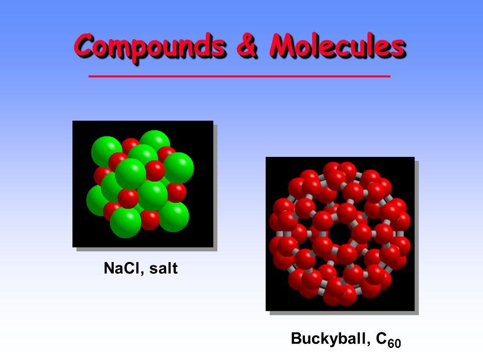 Compounds & Molecules NaCl, salt Buckyball, C 60