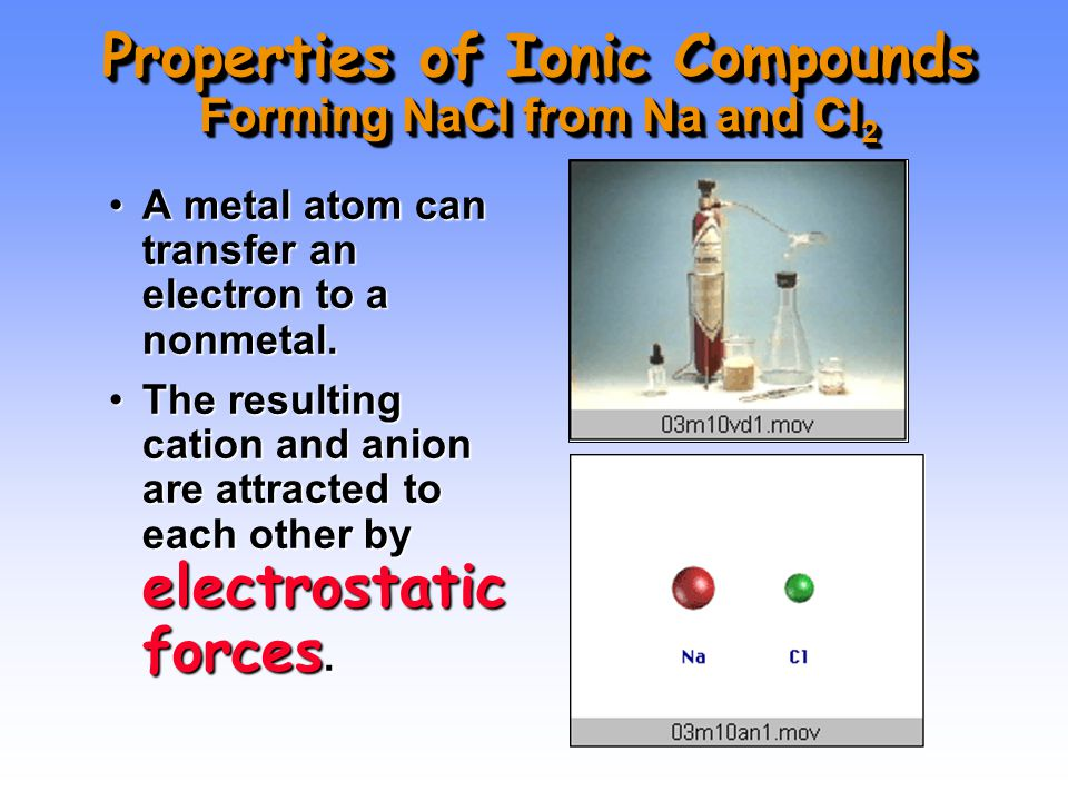 Properties of Ionic Compounds Forming NaCl from Na and Cl 2 A metal atom can transfer an electron to a nonmetal.A metal atom can transfer an electron to a nonmetal.