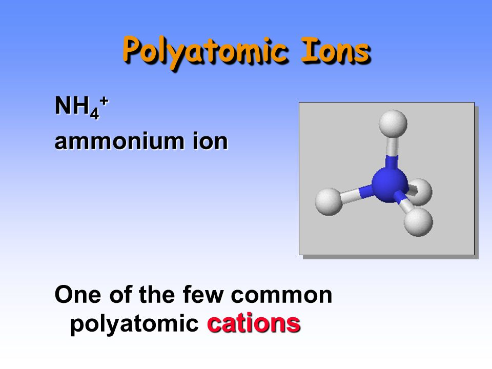 Polyatomic Ions NH 4 + ammonium ion One of the few common polyatomic cations