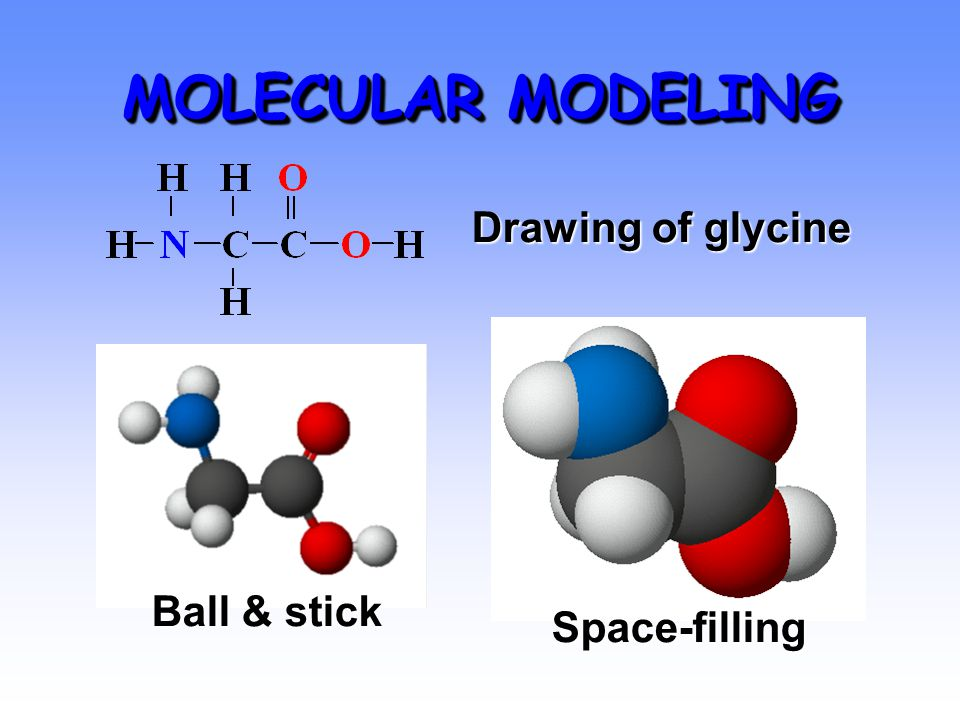 MOLECULAR MODELING Ball & stick Space-filling Drawing of glycine
