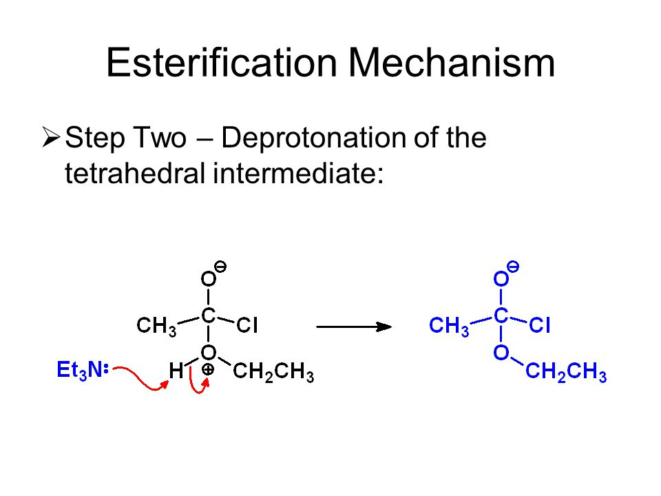 Esterification Mechanism  Step Two – Deprotonation of the tetrahedral intermediate: