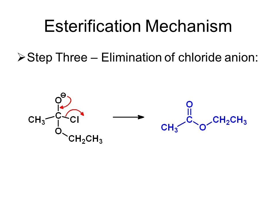 Esterification Mechanism  Step Three – Elimination of chloride anion: