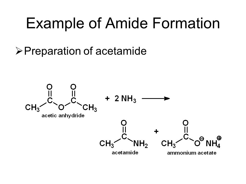 Example of Amide Formation  Preparation of acetamide