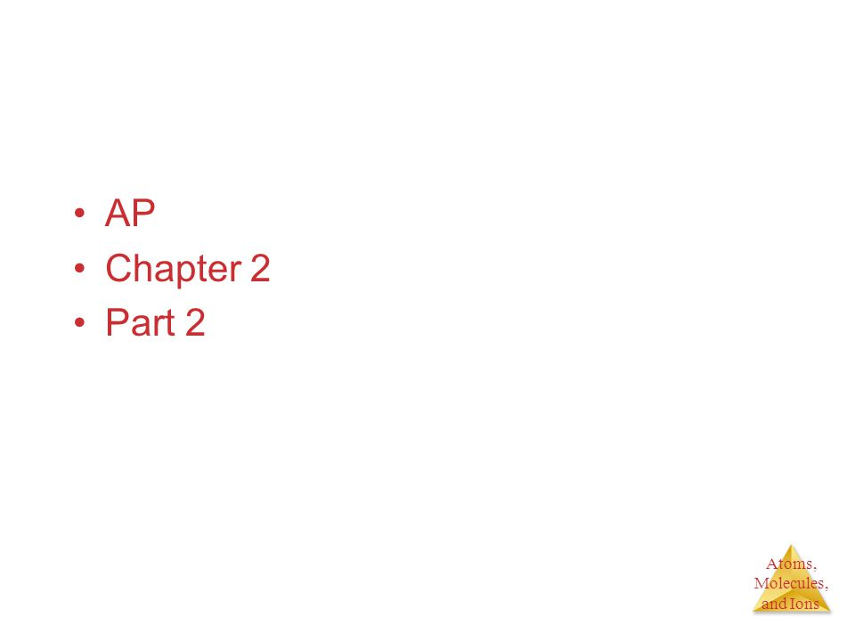Atoms, Molecules, and Ions AP Chapter 2 Part 2