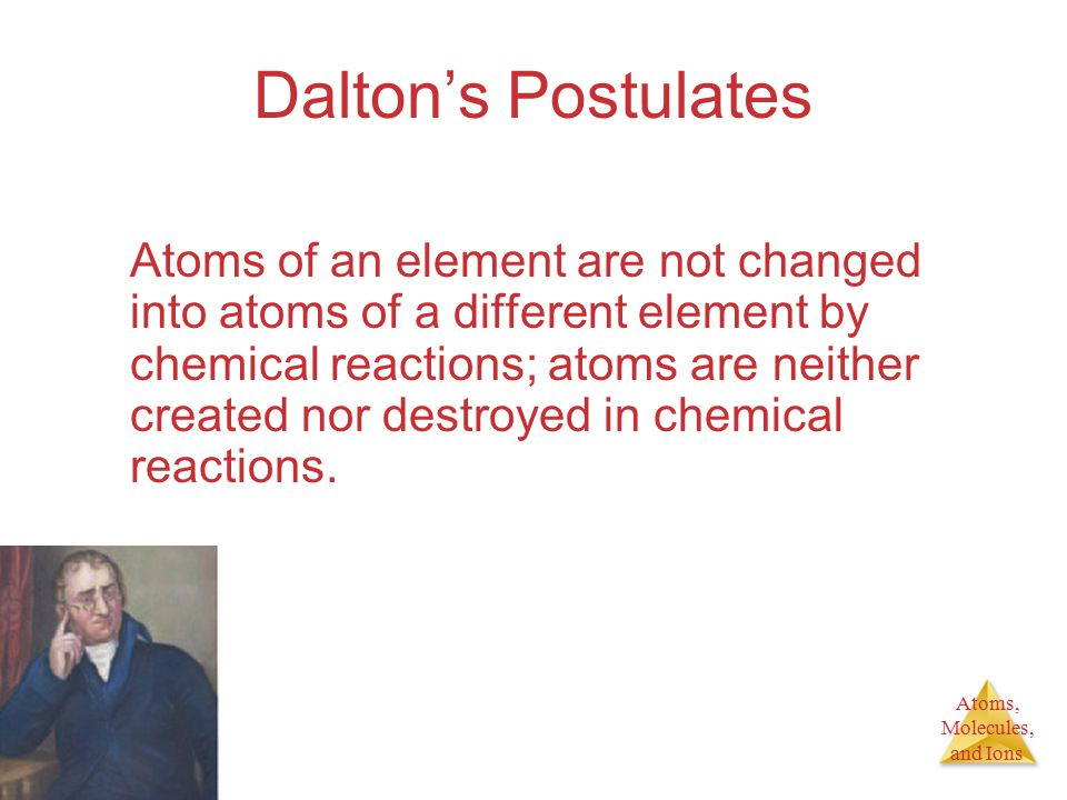Atoms, Molecules, and Ions Dalton's Postulates Compounds are formed when atoms of more than one element combine; a given compound always has the same relative number and kind of atoms.