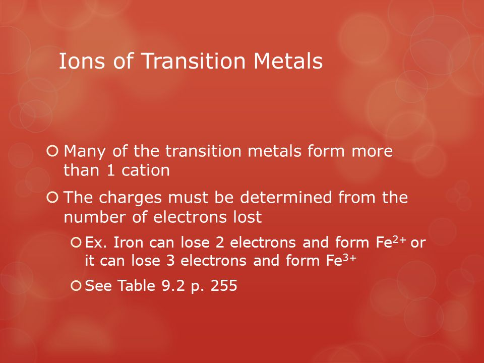 Ions of Transition Metals  Many of the transition metals form more than 1 cation  The charges must be determined from the number of electrons lost 