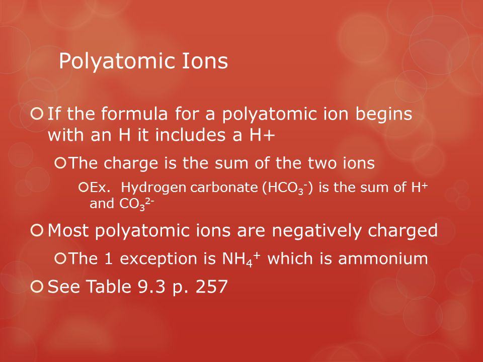 Polyatomic Ions  If the formula for a polyatomic ion begins with an H it includes a H+  The charge is the sum of the two ions  Ex. Hydrogen carbona