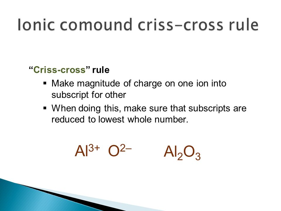"""Criss-cross"" rule  Make magnitude of charge on one ion into subscript for other  When doing this, make sure that subscripts are reduced to lowest w"