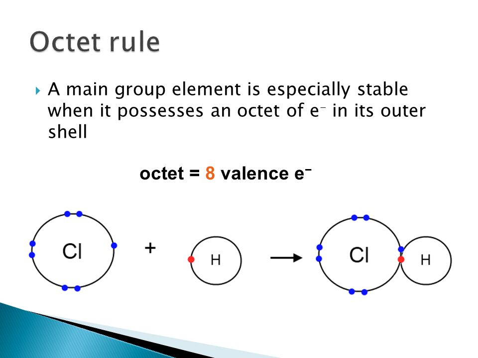  A main group element is especially stable when it possesses an octet of e - in its outer shell octet = 8 valence e −