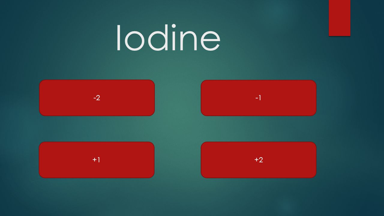 Iodine -2 +1+2