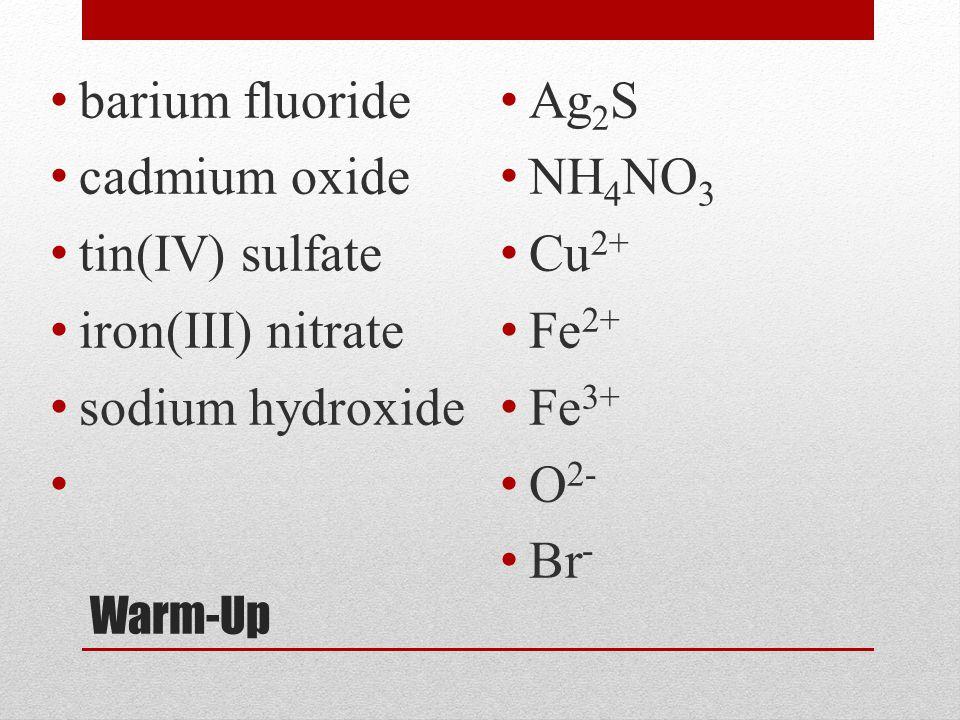 Warm-Up barium fluoride cadmium oxide tin(IV) sulfate iron(III) nitrate sodium hydroxide Ag 2 S NH 4 NO 3 Cu 2+ Fe 2+ Fe 3+ O 2- Br -