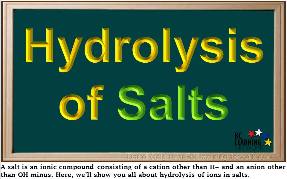 A salt is an ionic compound consisting of a cation other than H+ and an anion other than OH minus. Here, we'll show you all about hydrolysis of ions i