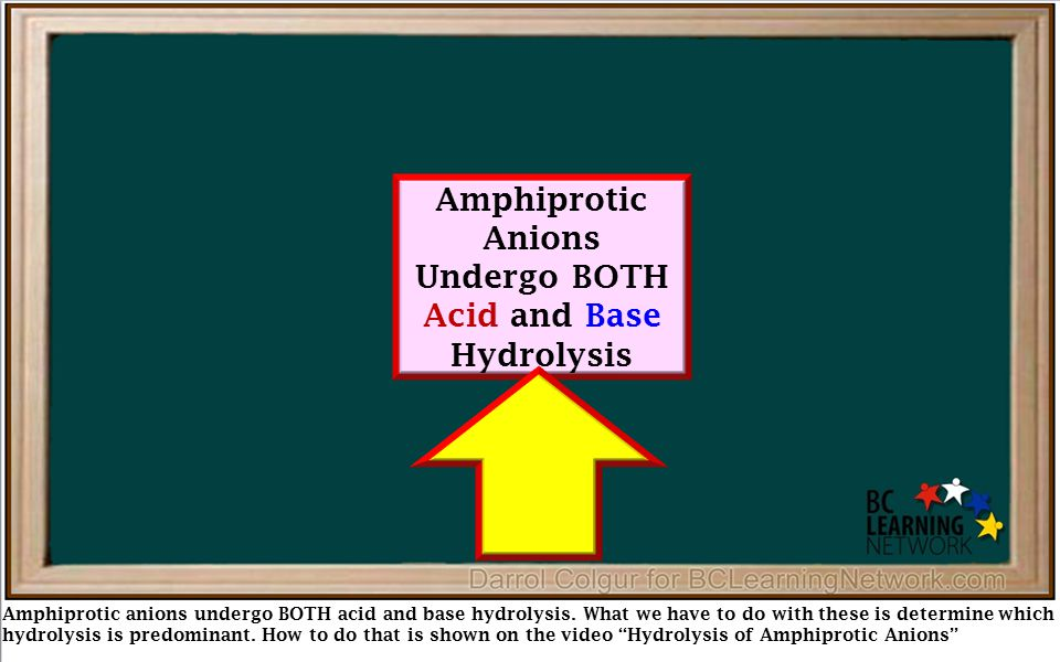 Amphiprotic anions undergo BOTH acid and base hydrolysis. What we have to do with these is determine which hydrolysis is predominant. How to do that i