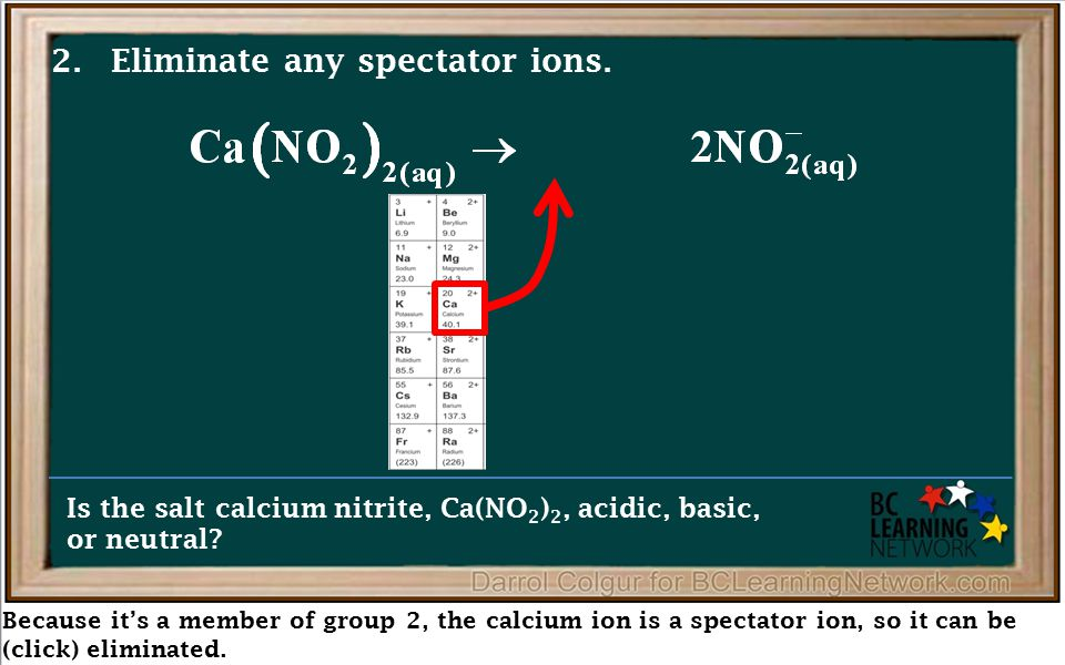 Because it's a member of group 2, the calcium ion is a spectator ion, so it can be (click) eliminated. Is the salt calcium nitrite, Ca(NO 2 ) 2, acidi