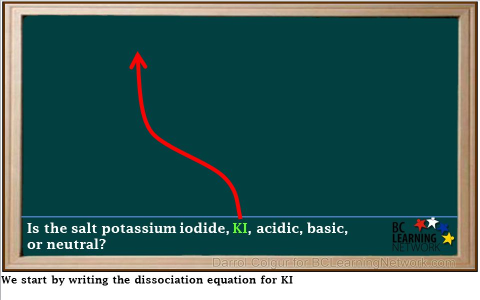 We start by writing the dissociation equation for KI Is the salt potassium iodide, KI, acidic, basic, or neutral?